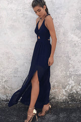 Low Back Twist Front V Neck Split Halter Chiffon Dress in Navy