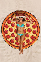 Relaxing Pizza Printed Beach Towel in Red