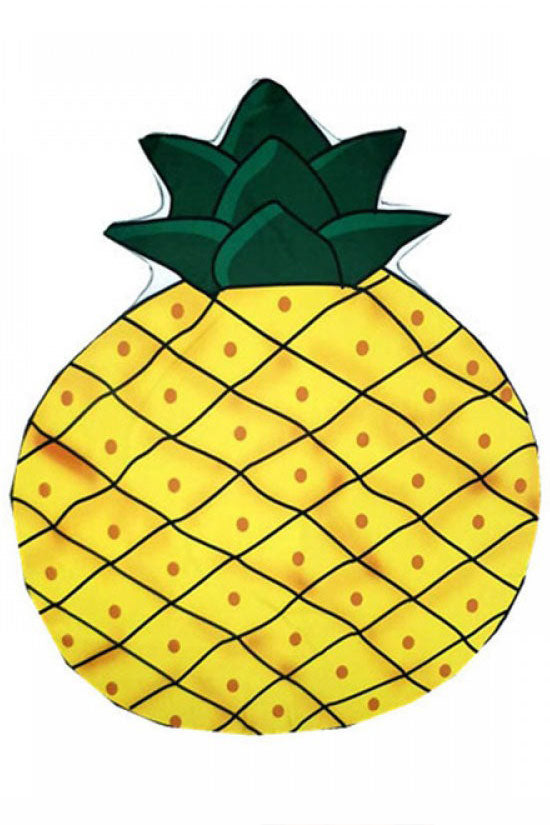 Holiday Pineapple Printed Beach Towel in Yellow
