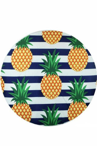Holiday Pineapple Printed Round Beach Towel in Blue