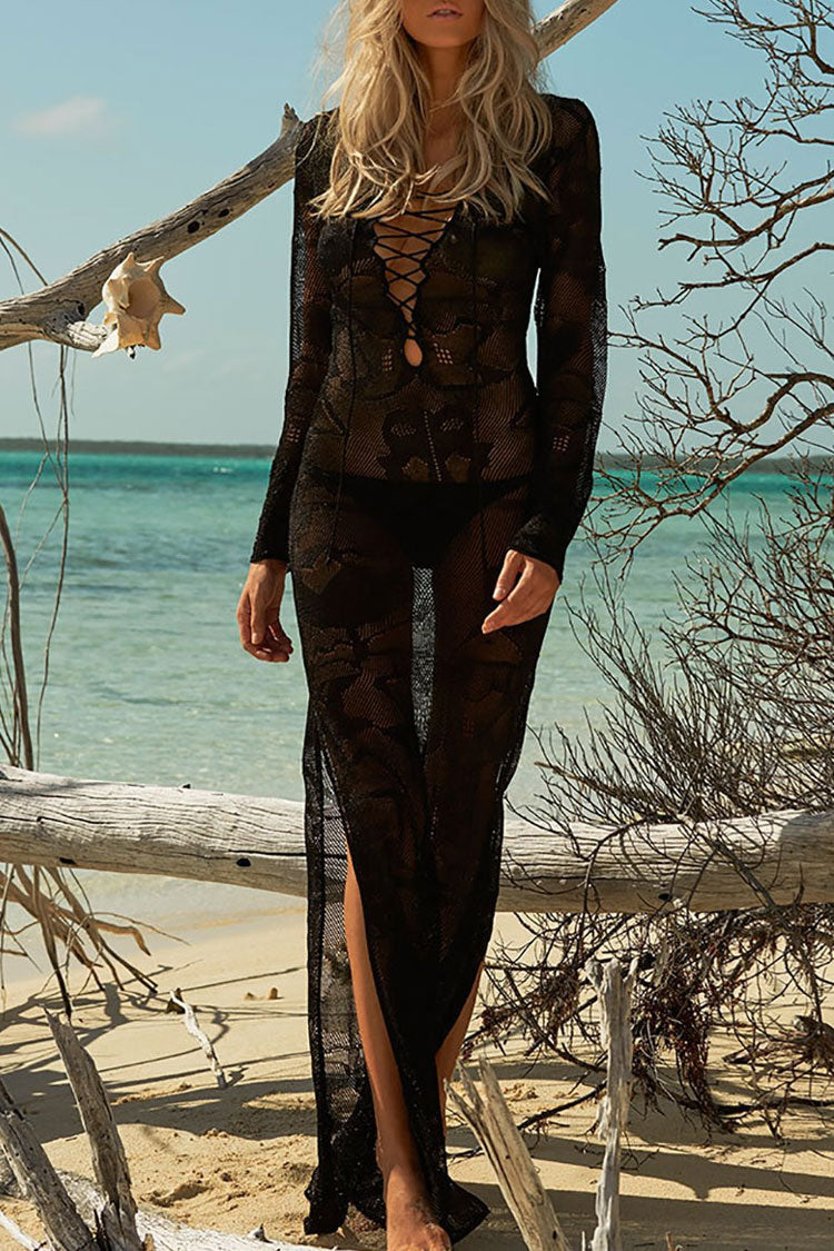 Boho Lace Up Crochet Beach Cover Up in Black