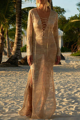 Boho Lace Up Crochet Beach Cover Up in Apricot