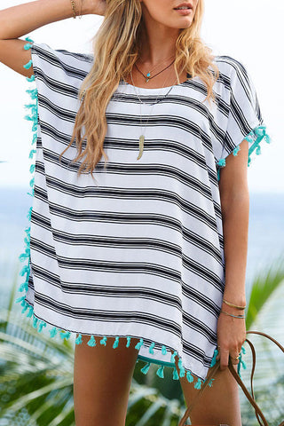 Relaxed Striped Beach Cover Up in White