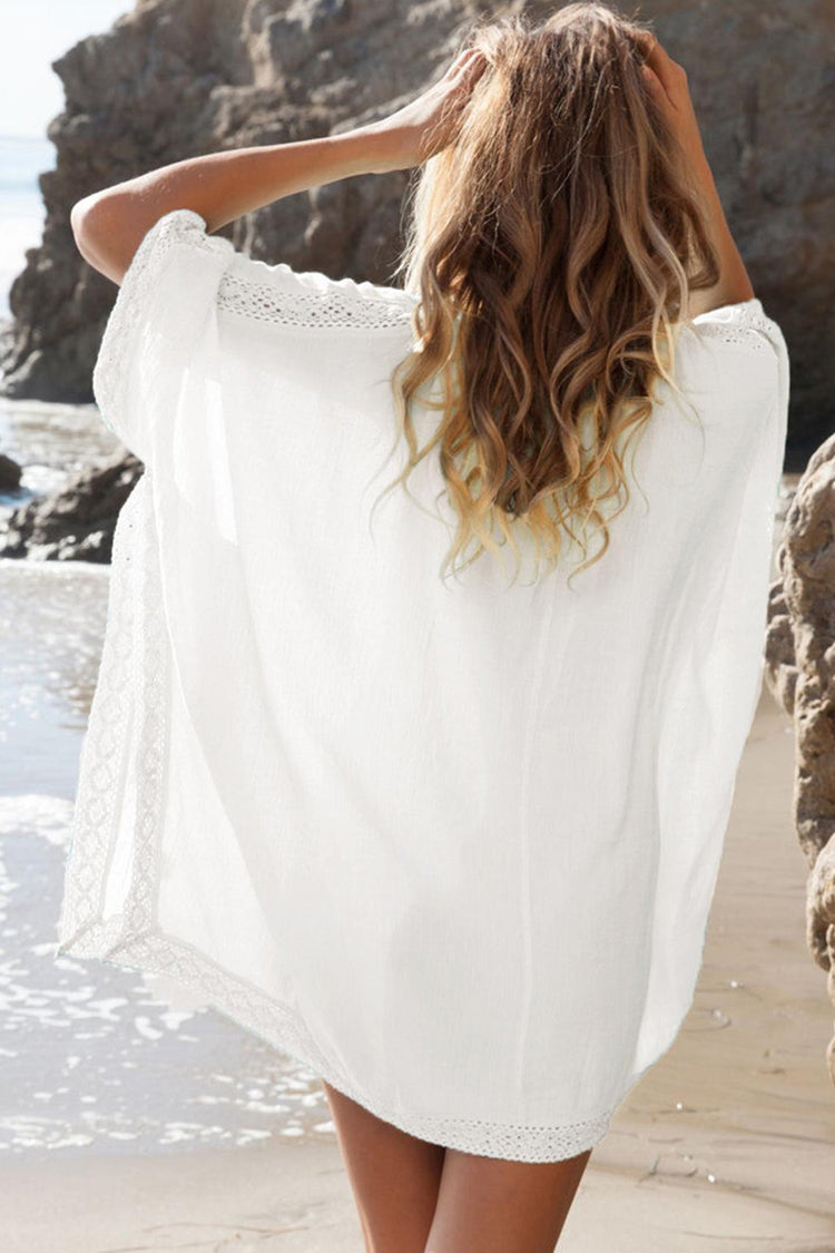 Relaxed V Neck Tunic Beach Cover Up in White