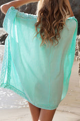 Relaxed V Neck Tunic Beach Cover Up in Lake Blue