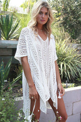 Boho V Neck Tunic Beach Cover Up in White