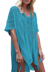 Boho V Neck Tunic Beach Cover Up in Lake Blue