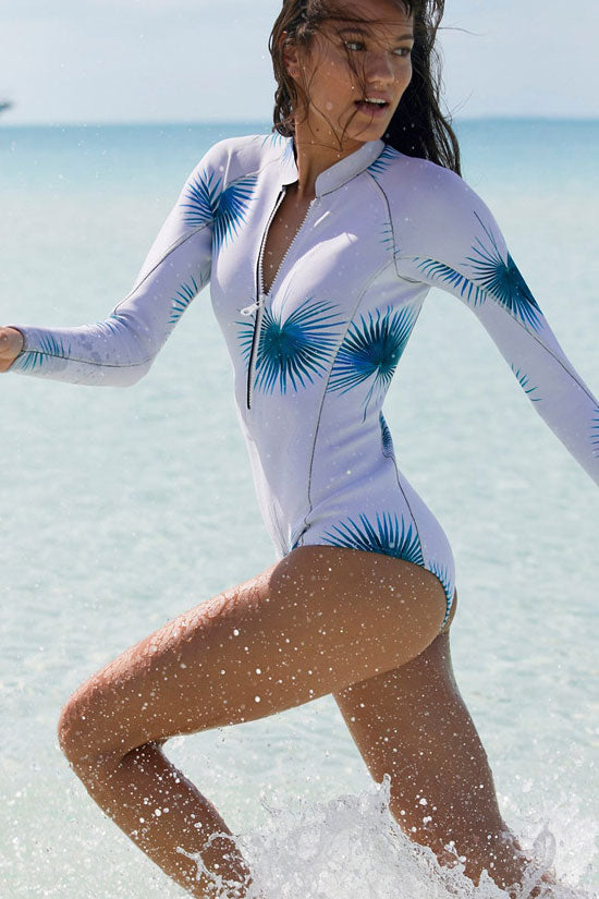 Sport Leaf Printed Rash Guard One Piece Swimsuits in White