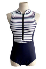Nautical Striped Rash Guard One Piece Swimsuits in Navy
