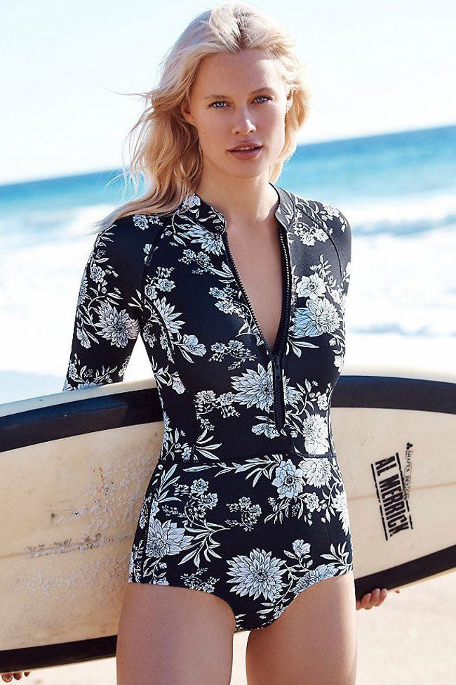 Holiday Floral Long Sleeves Rash Guard One Piece Swimsuits in Black