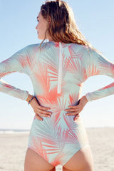 Relaxed  Palm Rash Guard One Piece Swimsuits in Light Blue