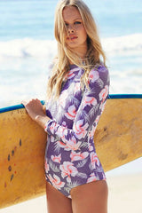 Holiday Floral Printed Rash Guard One Piece Swimsuits in Purple