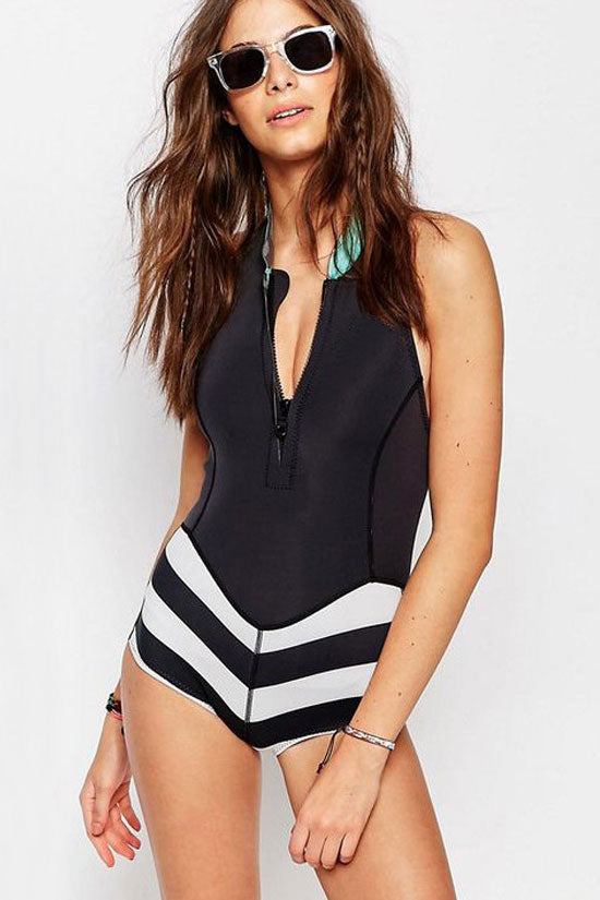 Sport Striped Rash Guard One Piece Swimsuits in Black