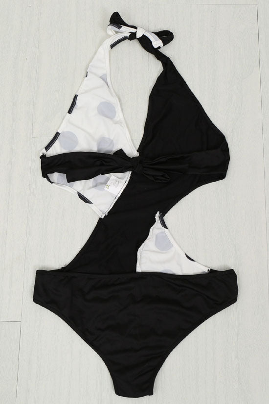 Holiday Monochrome Monokini One Piece Swimsuit in Black/White
