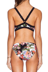 Tropical Floral  Plunged Monokini One Piece Swimsuit in White