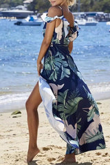 Ruffle Cold Shoulder Floral Wrap V Split Maxi Beach Dress in Navy
