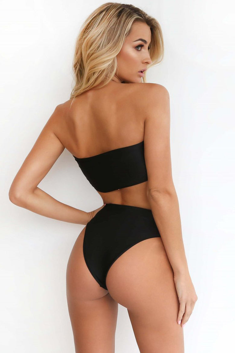 Holiday High Cut High Waist Bandeau Bikini Swimsuit in Black