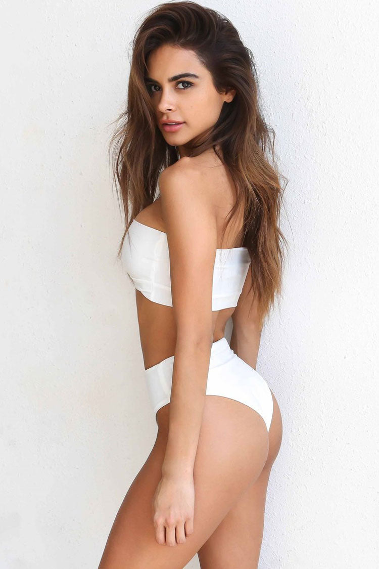 Holiday High Cut High Waist Bandeau Bikini Swimsuit in White