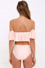 High Waist Strappy Ruffle Off Shoulder Bikini Swimsuit in Pink