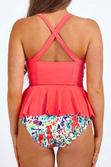 Pastoral Scallop Peplum Tankini Swimsuit in Dark Pink