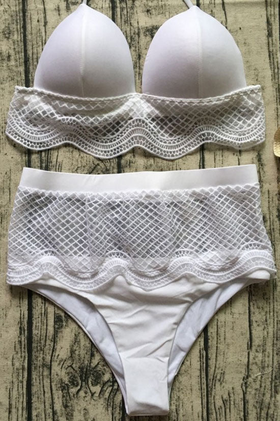 Pretty High Waist Scalloped Lace Triangle Bikini Swimsuit in White