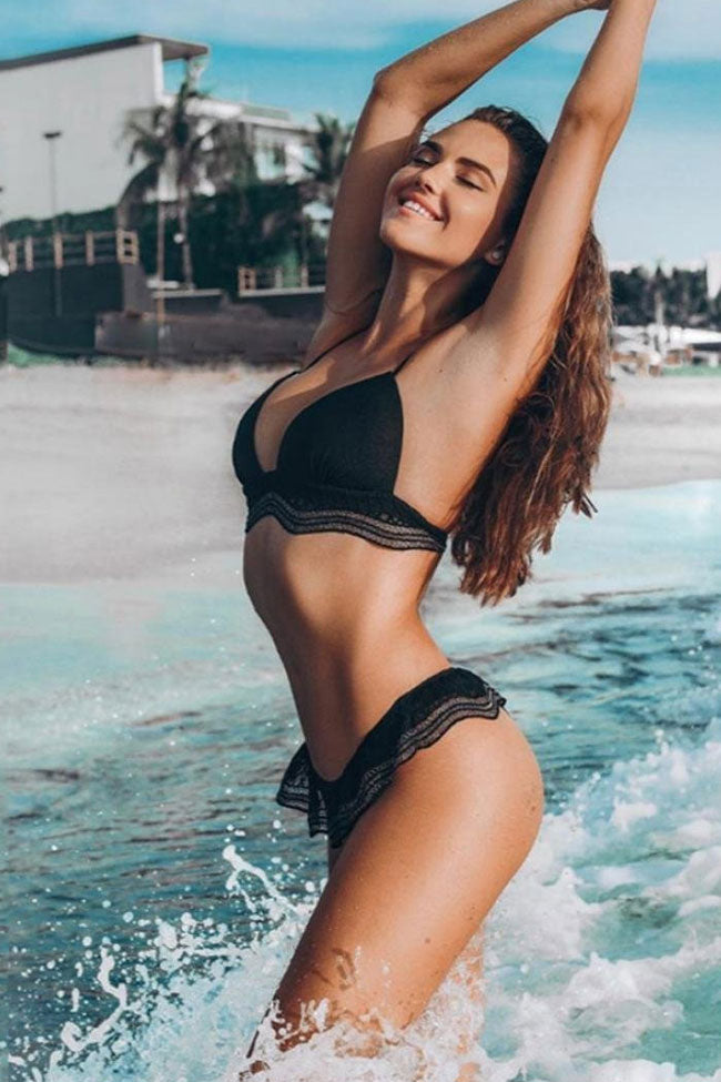 Holiday Low Rise Ruffle Triangle Bikini Swimsuit in Black