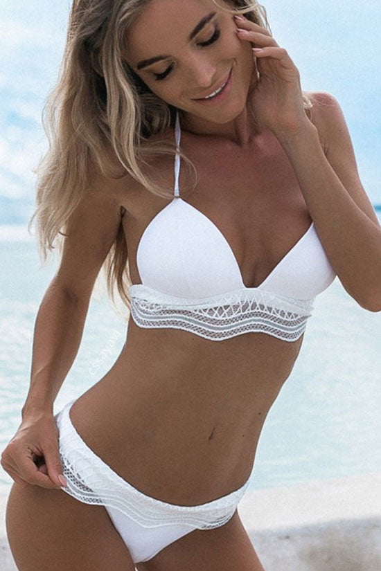 Holiday Low Rise Ruffle Triangle Bikini Swimsuit in White