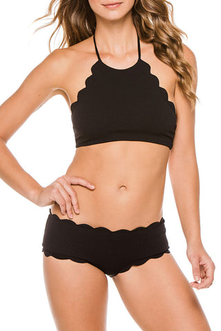 Solid Color High Neck Scalloped Bikini Swimsuit in Black