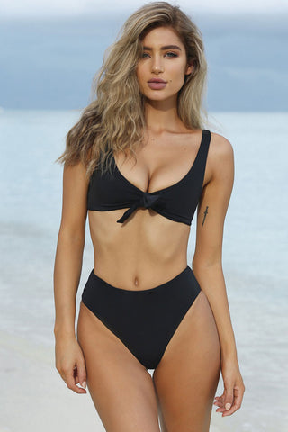 Summery High Cut High Waist Knotted Bikini Swimsuit in Black