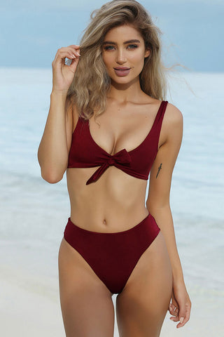 Summery High Cut High Waist Knotted Bikini Swimsuit in Burgundy