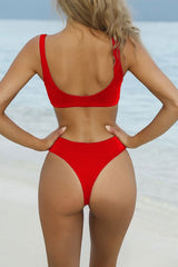 Summery High Cut High Waist Knotted Bikini Swimsuit in Red