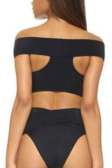 High Waist Wrap Bandage Off Shoulder Bikini Swimsuit in Black