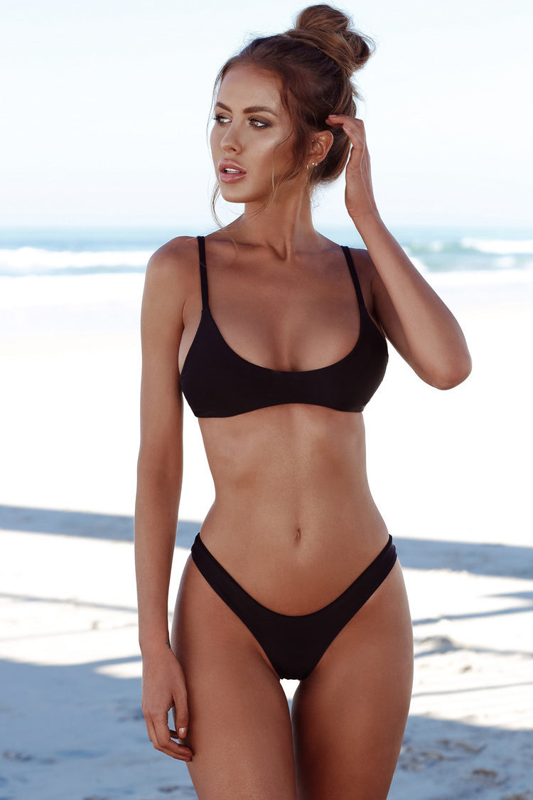 Sexy High Cut Cheeky Bralette Bikini Swimsuit in Black