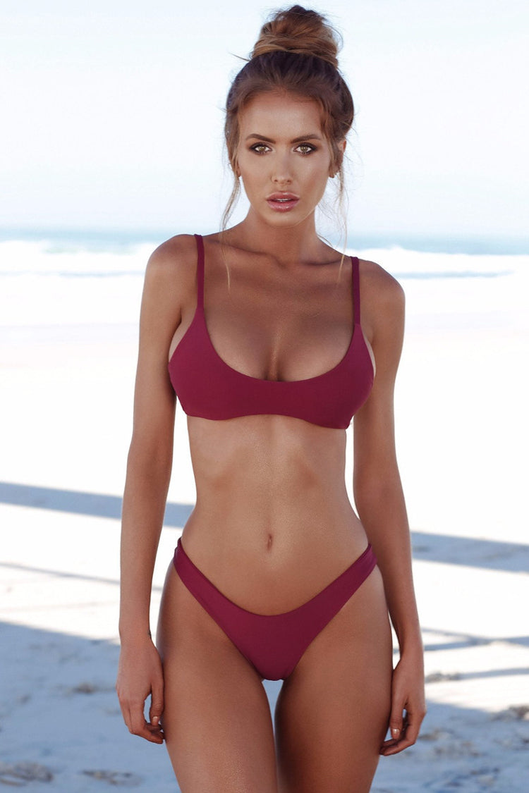 Sexy High Cut Cheeky Bralette Bikini Swimsuit in Burgundy