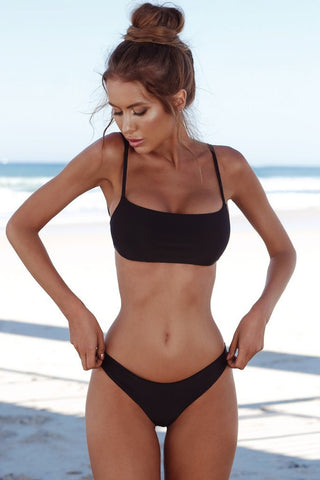 Solid Holiday Bandeau Bralette Bikini Swimsuit in Black