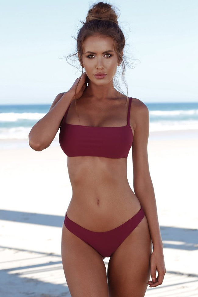 Solid Holiday Bandeau Bralette Bikini Swimsuit in Burgundy