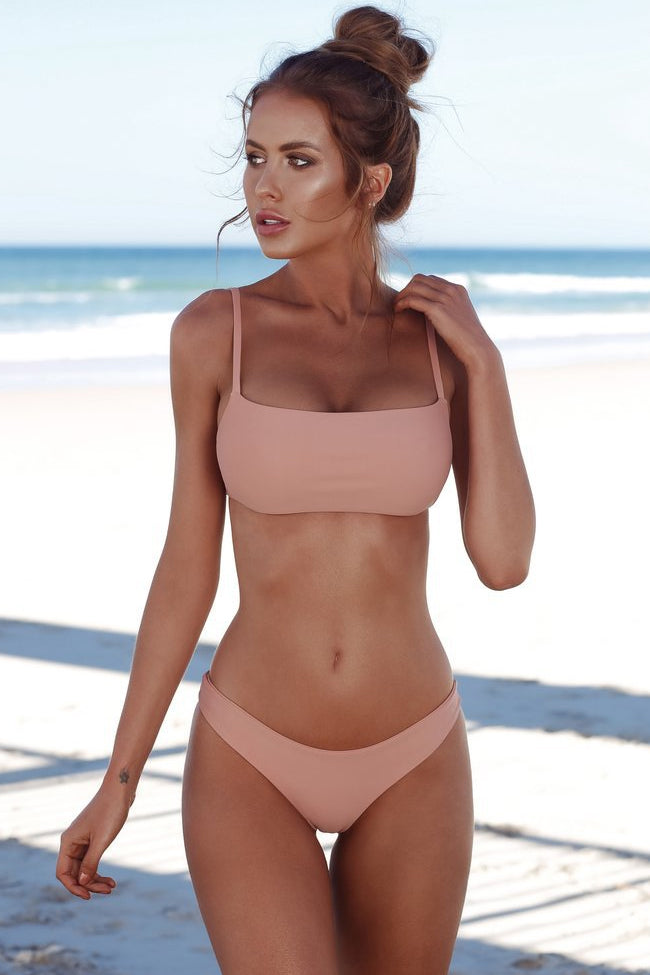Solid Holiday Bandeau Bralette Bikini Swimsuit in Pink