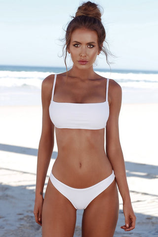 Solid Holiday Bandeau Bralette Bikini Swimsuit in White