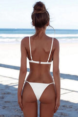 Solid String Cheeky Thong Triangle Bikini Swimsuit in White
