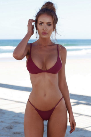 Solid String Cheeky Thong Triangle Bikini Swimsuit in Burgundy