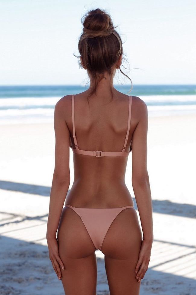 Solid String Cheeky Thong Triangle Bikini Swimsuit in Pink