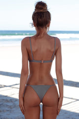 Solid String Cheeky Thong Triangle Bikini Swimsuit in Gray