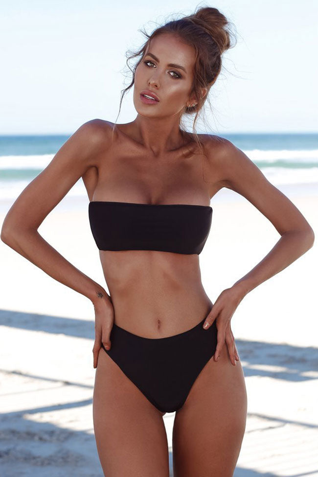 Sexy High Waist Bandeau Bikini Swimsuit in Black