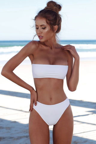 Sexy High Waist Bandeau Bikini Swimsuit in White
