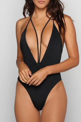 Sexy Deep V Neck Strappy High Cut One Piece Swimsuit in Black