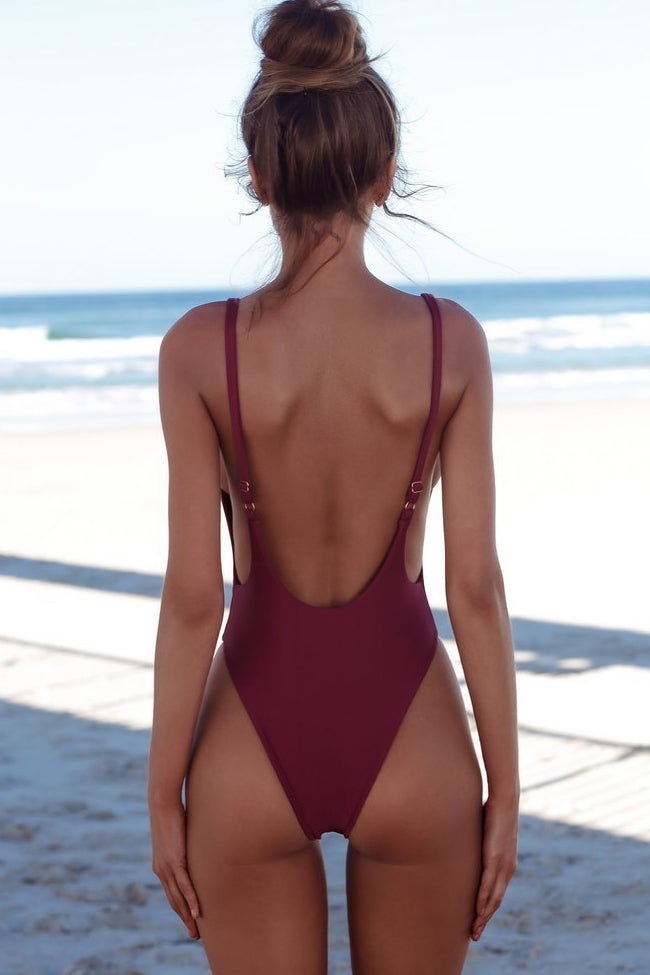 Chic Low Scoop Back High Cut One Piece Swimsuit in Burgundy