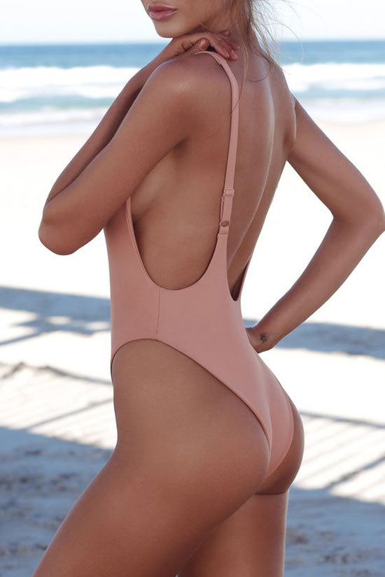 Chic Low Scoop Back High Cut One Piece Swimsuit in Pink
