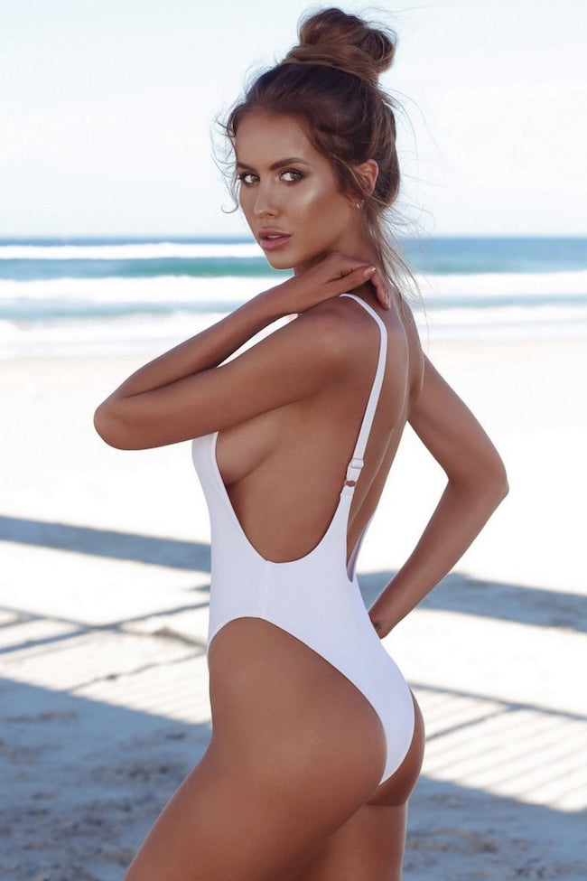 Chic Low Scoop Back High Cut One Piece Swimsuit in White
