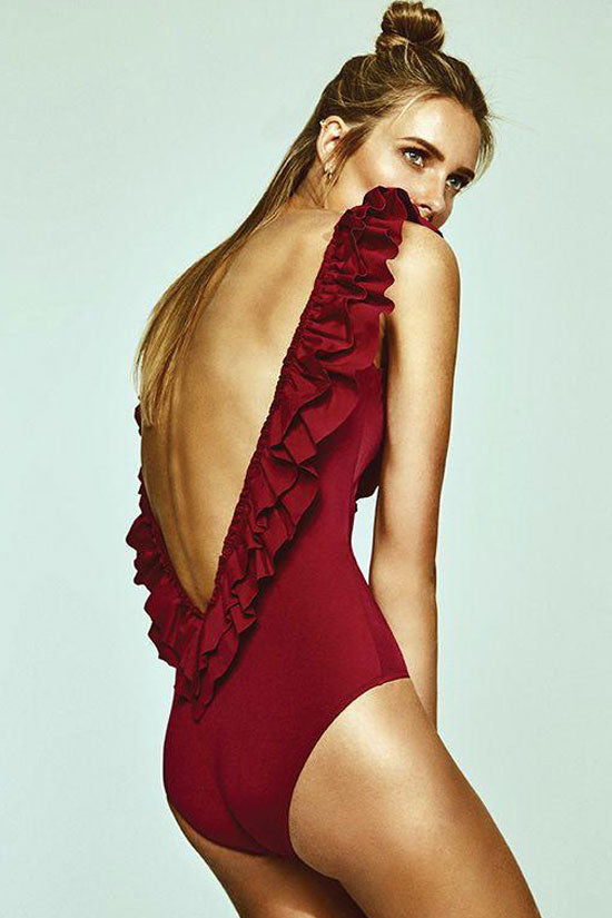 Layered Ruffle Low Back One Piece Swimsuit in Burgundy