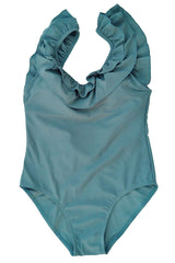 Layered Ruffle Low Back One Piece Swimsuit in Blue